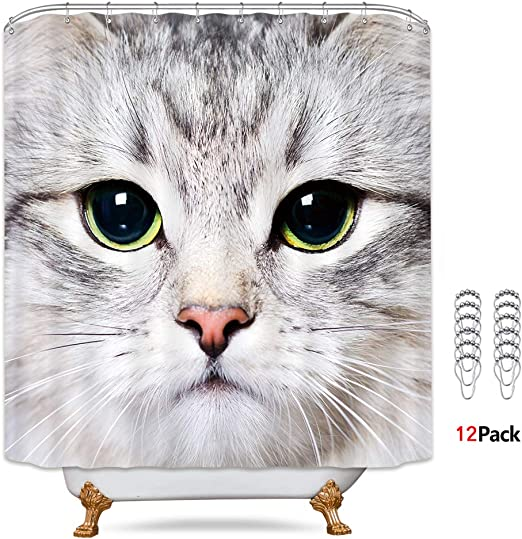 Cute Cats on Wood Fence Shower Curtain Bathroom Decor Fabric /& 12hooks 71*71inch