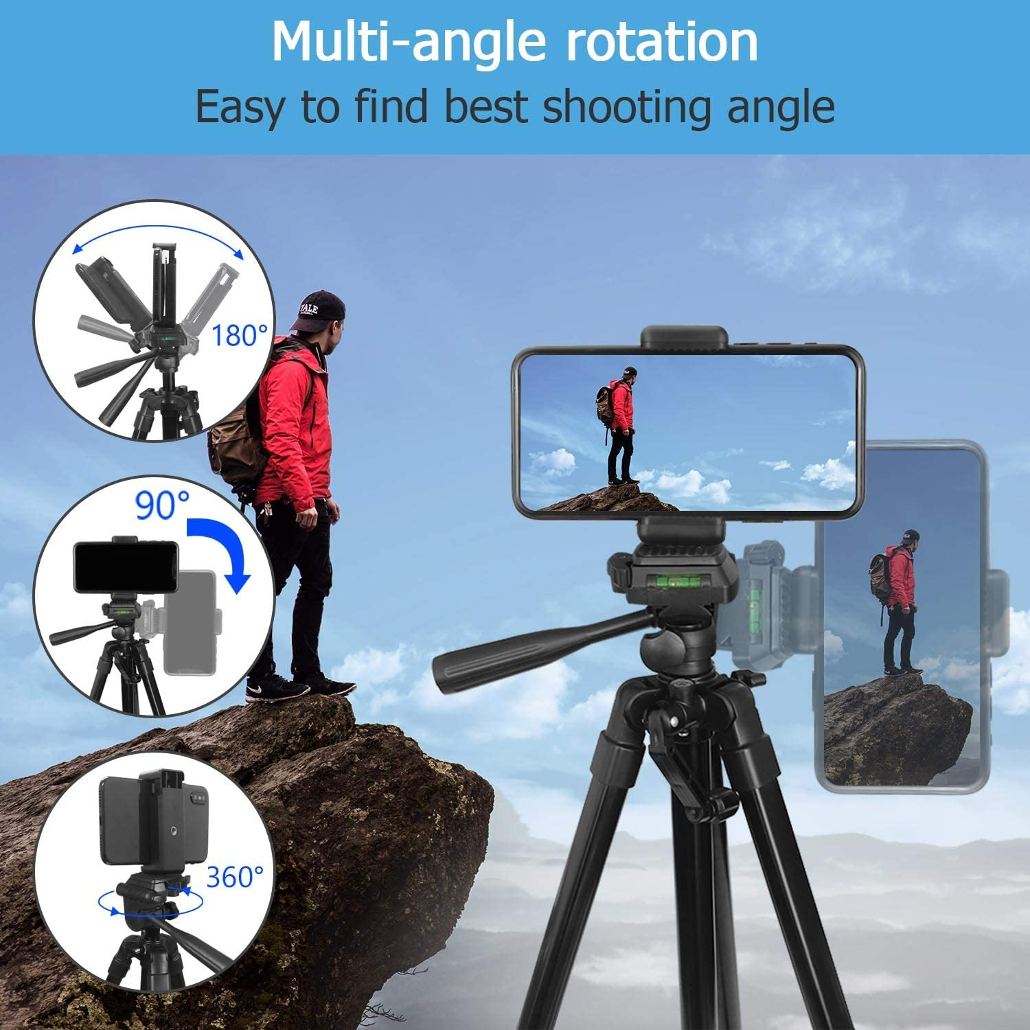 PEYOU Compatible for iPhone Camera Tripod Phone Holder Mount Compatible for iPhone 62 Lightweight Aliminum Travel Camera Tripod Stand with Carry Bag Samsung /& Android Phone Wireless Remote