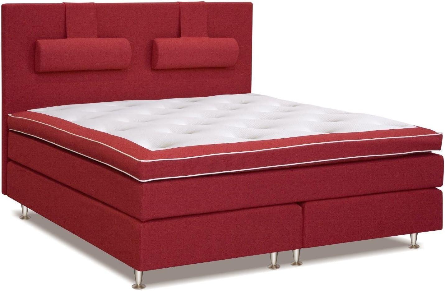 Cama con somier cama 200 x 200 cm rojo: Amazon.es ...