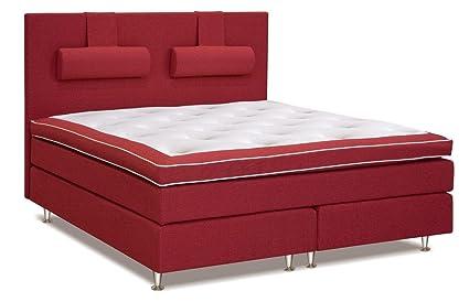 Cama con somier cama 210 x 200 cm rojo