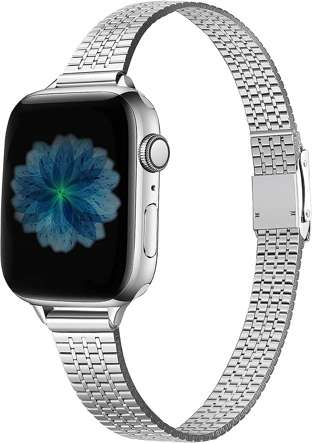 Secbolt Thin Bands Compatible with Apple Watch Band 38mm 40mm iWatch SE Series 6/5/4/3/2/1, Stainless Steel Women Dressy Wristband Secure Double Lock