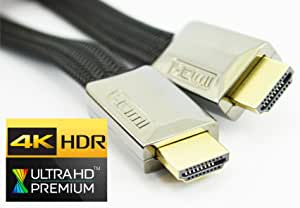rhinocables Flat HDMI 2.0 Cable Premium Quality Braided Full Ultra HD TV 3DTV 4K 2160p ARC 3.28 Feet 3 feet 3inch (3ft)