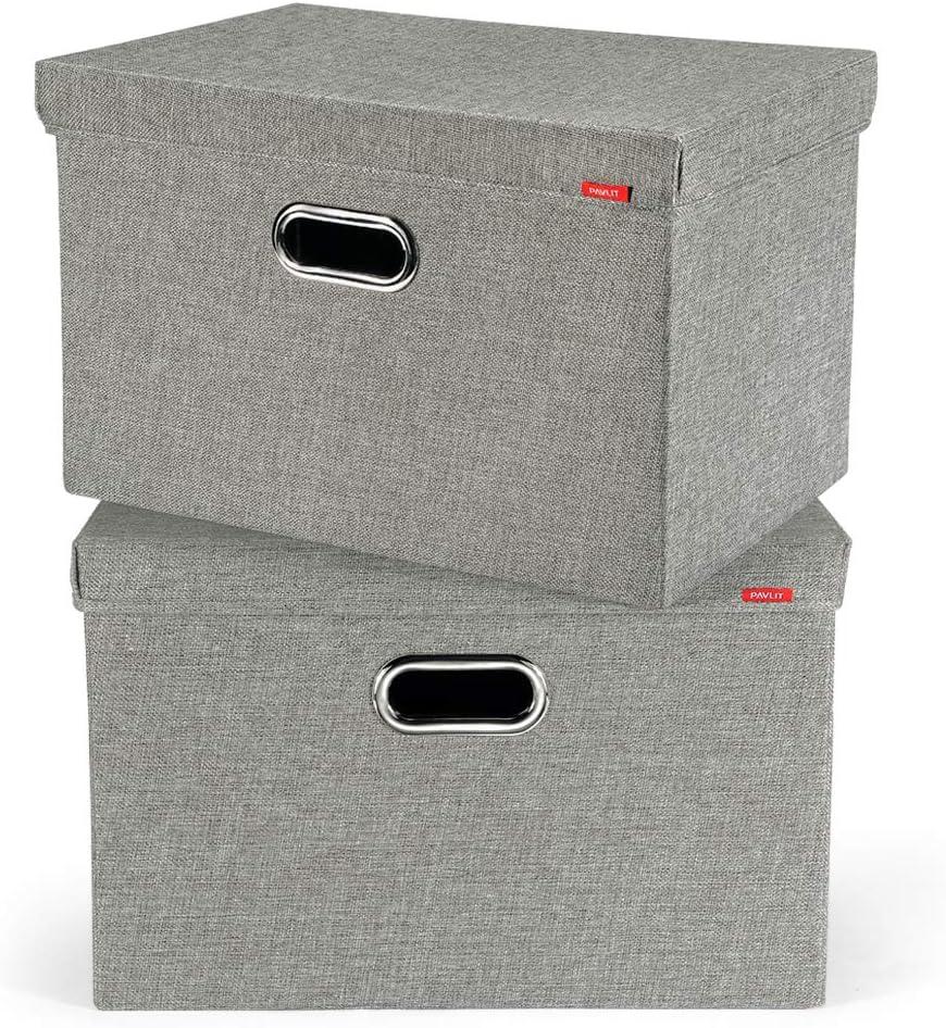 PAVLIT 2 Pcs Cajas de Almacenaje con Tapa, 45x30x30 cm Contenedores de Almacenamiento Plegables para Ropa, Juguetes, Dormitorios y Estanterías, Gris: Amazon.es: Hogar