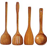 Wooden Spatula,Slotted Turner,Ladle Long Handle Utensils Set.Handmade for Kitchen Cookware (Utensil 4 Sets)