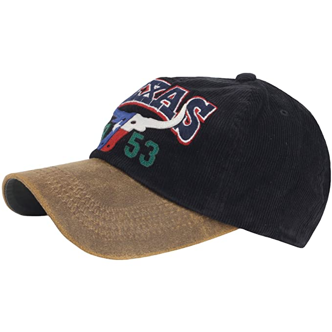 15857ac8807 RaOn B370 New Ball Cap USA Texas 1953 Football Vintage Corduroy Baseball Hat  Truckers (Black