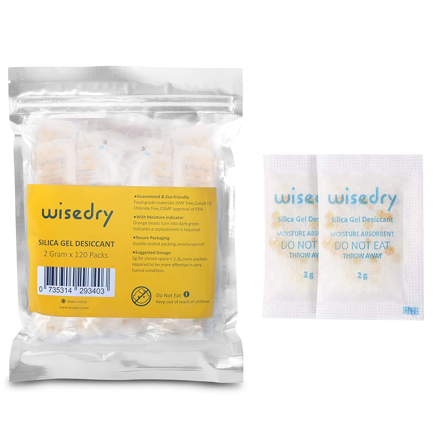 wisedry 120 Packets 2 Gram Silica Gel Desiccant Packs with Color Indicating Beads Moisture Absorber Packets for Food Shoe Boxes Spices Seed Collection Storage Food Grade