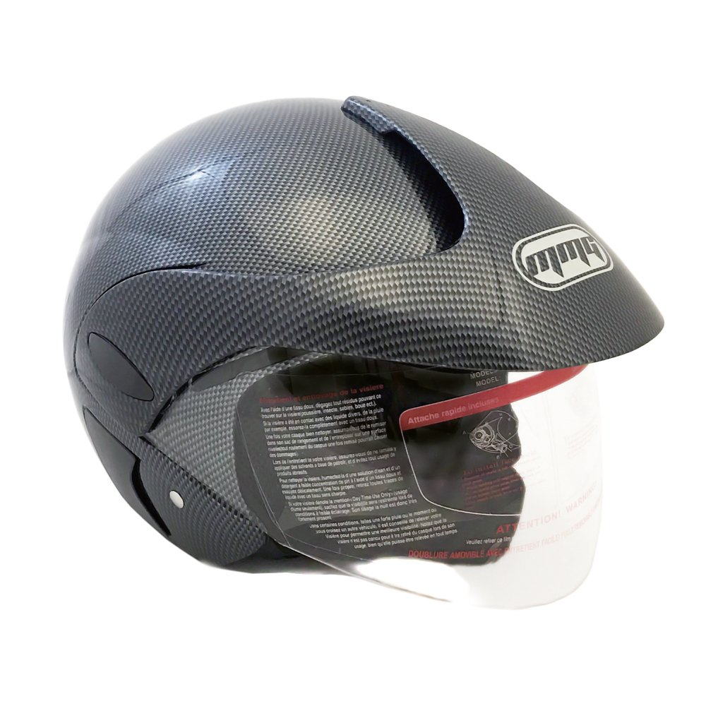 Motorcycle Powersports Open Face Helmet DOT Street Legal - FlipUp Clear Shield - Carbon Fiber (Size: Large)