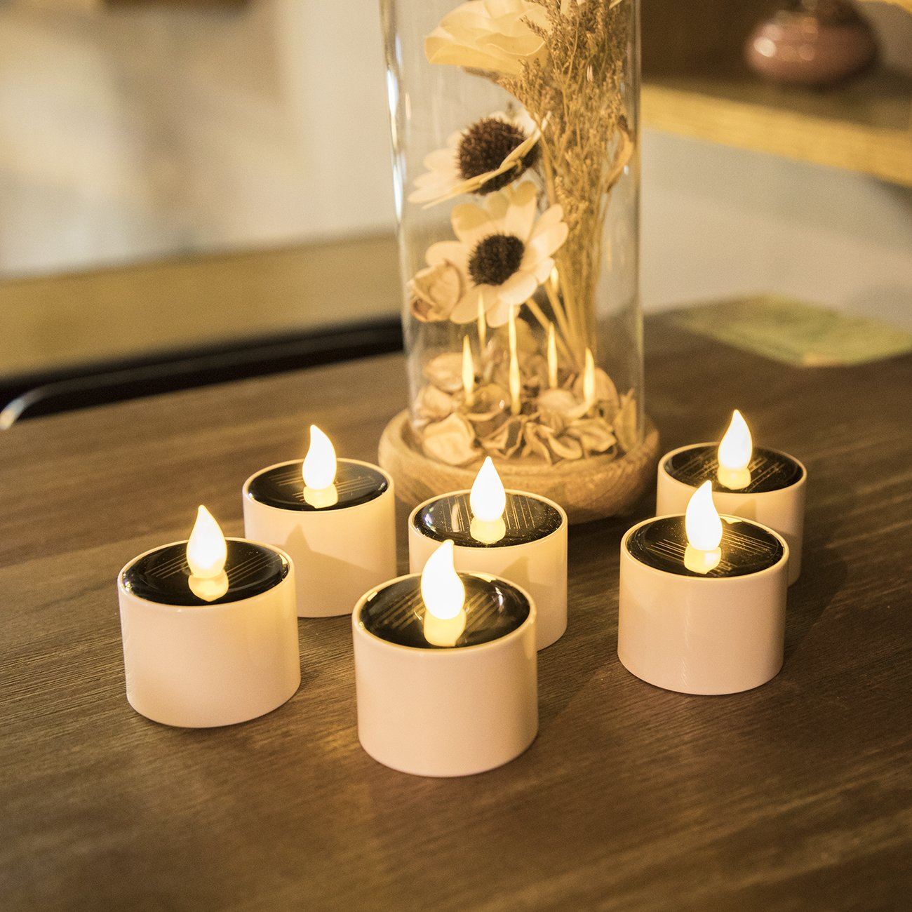 Solar Candles Flameless Rechargeable Candles LED Tea Lights Candles Battery Operated Upgraded Solar Power Waterproof Warm White Candle Set of 6 for Home Bar Bedroom Living Room Garden Outdoor Indoor by EXPOWER (Image #5)