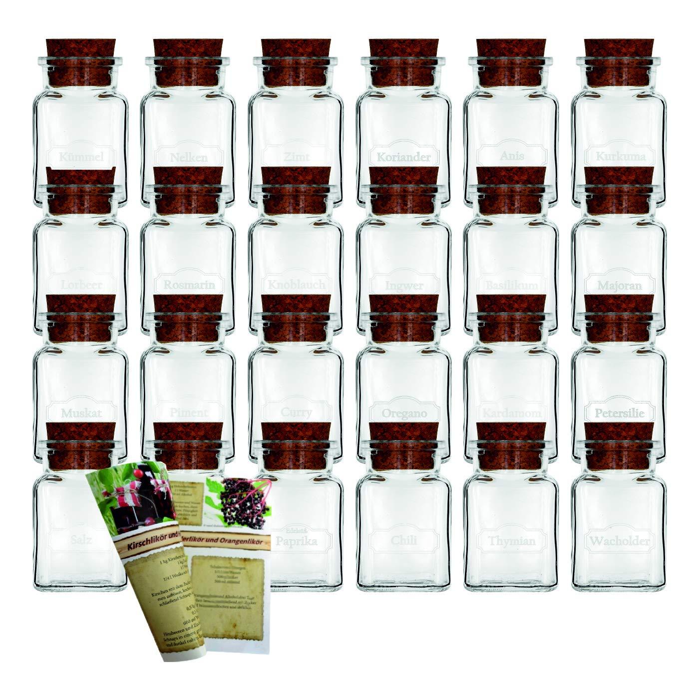 12er Set 150 ml Typ 1 150 ml gouveo Juego de tarros de Especias vac/íos con Corcho y Texto Vintage
