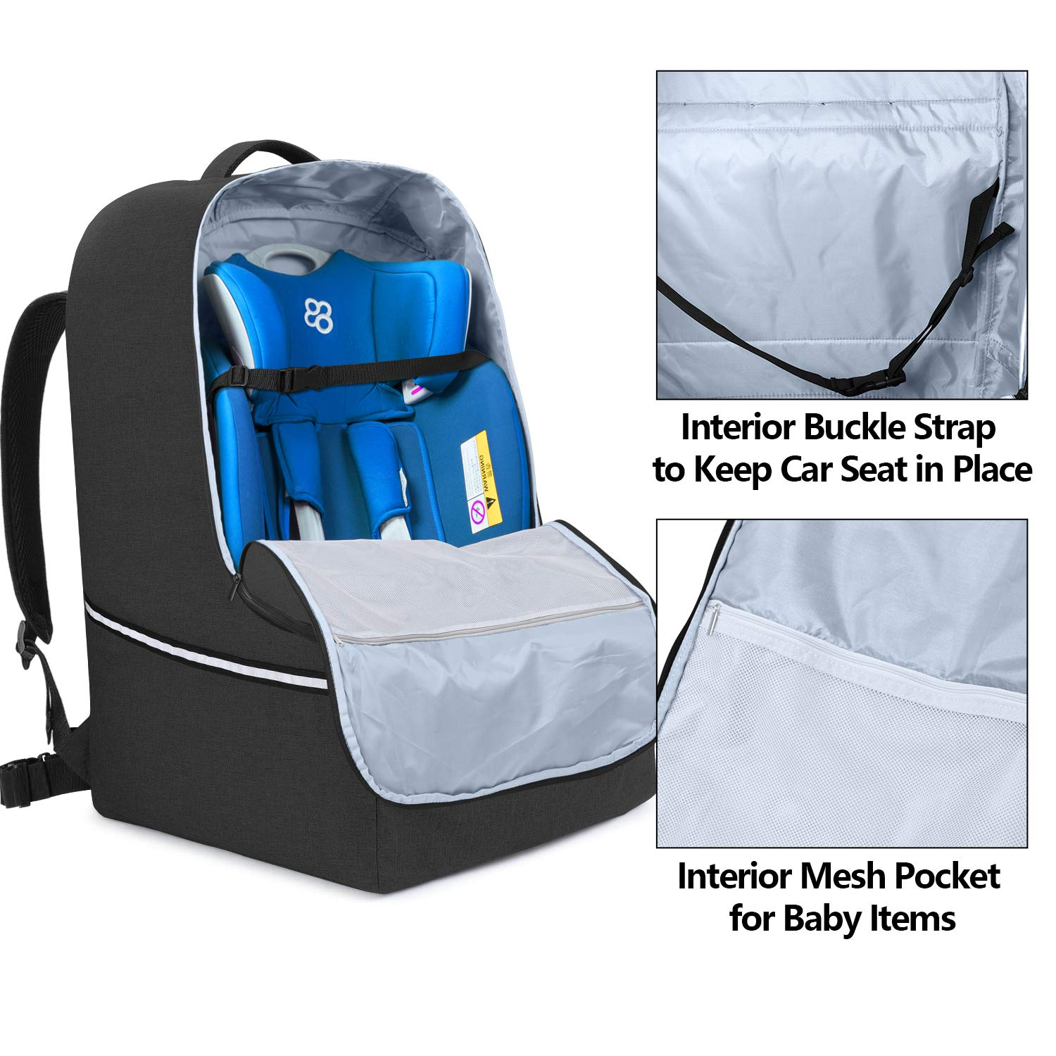 Car Seat Gate Check Bag with Top Handle and Reflective Tapes Teamoy Car Seat Travel Bag Gray Infant Carseat Carrier Covers for Airplane