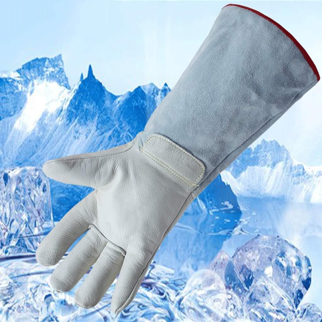 Best/ändigkeit gegen niedrige Temperaturen und fl/üssigen Stickstoff LNG lange dicke Schutzhandschuhe Frostschutz-Lederhandschuhe Trockeneis-Kaltlagerung K/älteschutz Tankstelle
