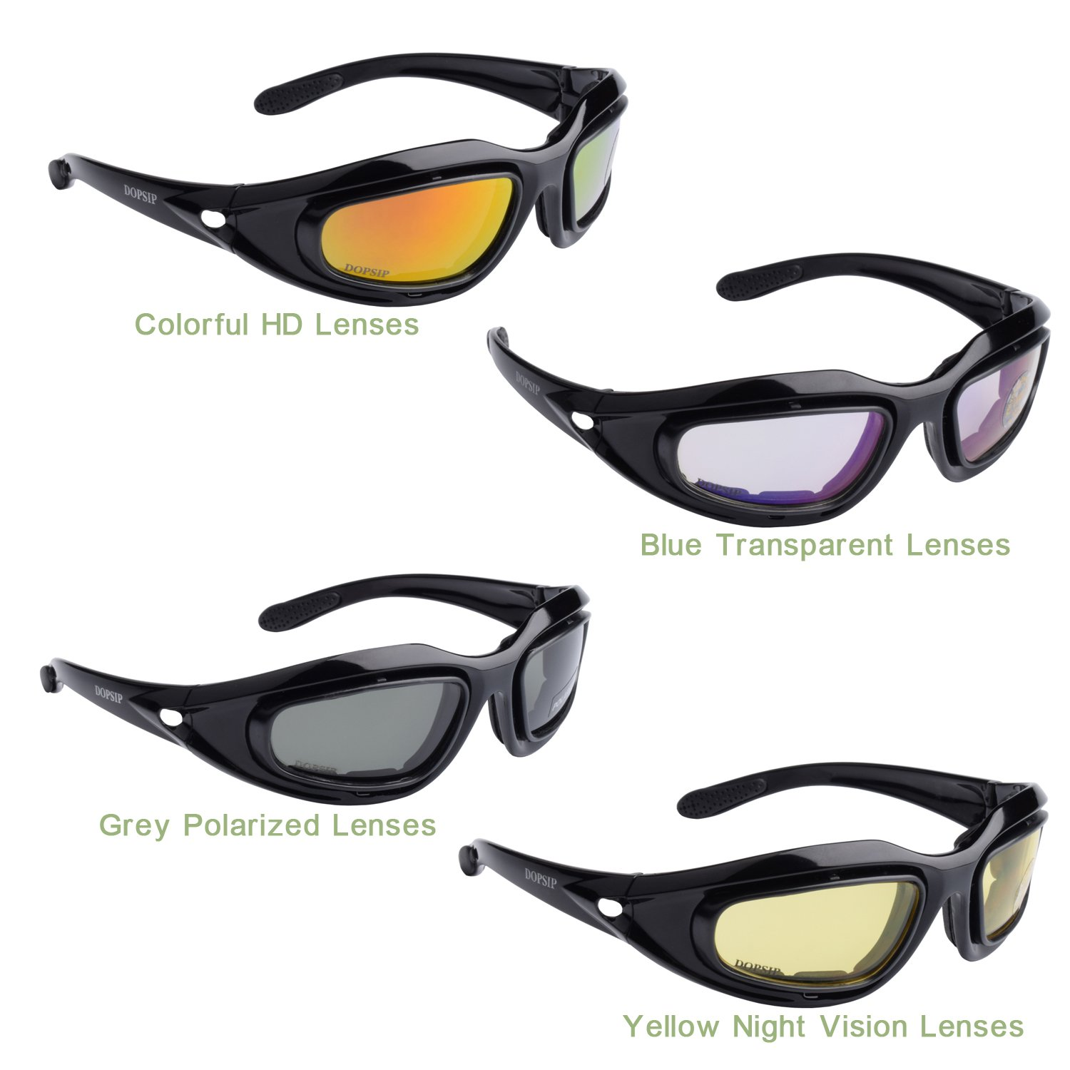 Tactical Glasses,DOPSIP Cycling Glases Protective Military Goggle with 4 Replaceable Lenses (Black) by DOPSIP (Image #3)