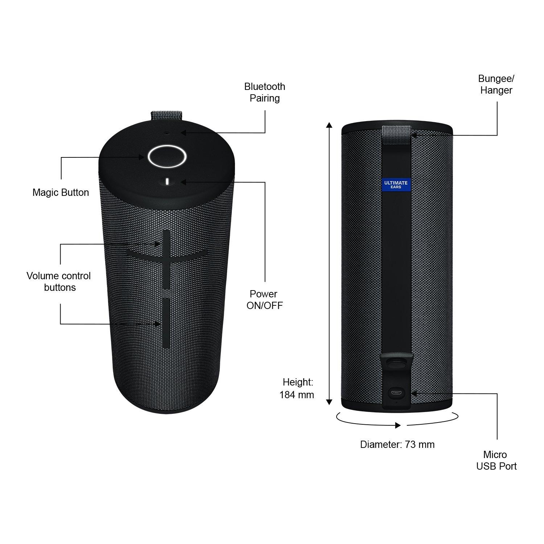 Ultimate Ears BOOM 3 Portable Waterproof Bluetooth Speaker – Night Black