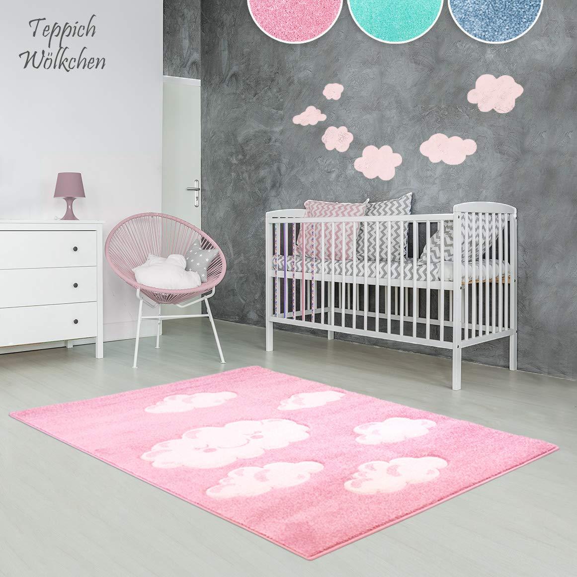 Kinder Zimmer Teppich Im Bunten Wolken Design Oder Uni Uni Oder