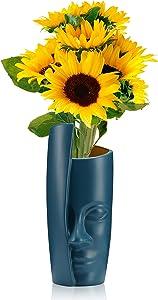 SGW.MHJZ 10cm/4.2inch Wide Caliber Face Vase Head Vase Modern Plastics Flower Vase, Decorative Floral Vase Home Decor Centerpieces,Table Arranging Bouquets.