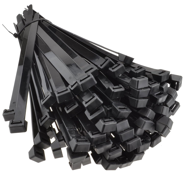 Noir cble Attache 250 mm x 4,8 mm Flexible /& Solide Lot de 100