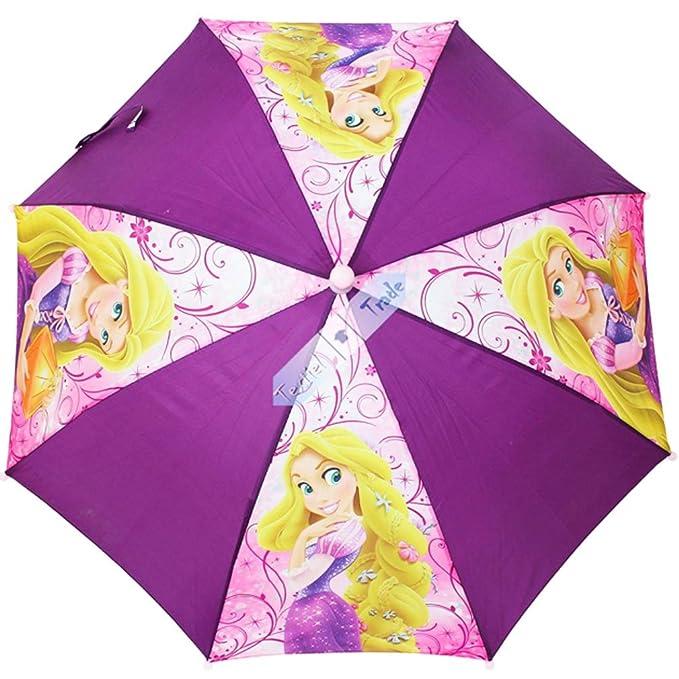 Paraguas infantil para niña, diseño de princesa Rapunzel 65 cm de diámetro, color morado