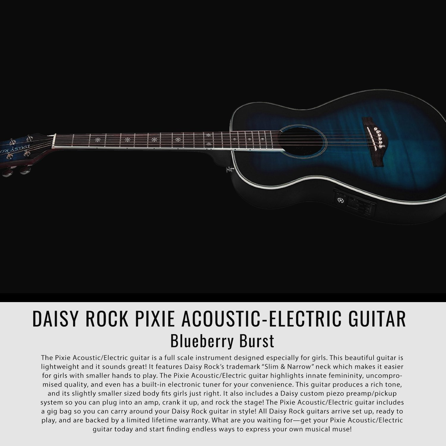 Daisy Rock Pixie Acoustic//Electric Guitar and Accessory Bundle Pink Sparkle with Instrument Tuner Guitar Pick