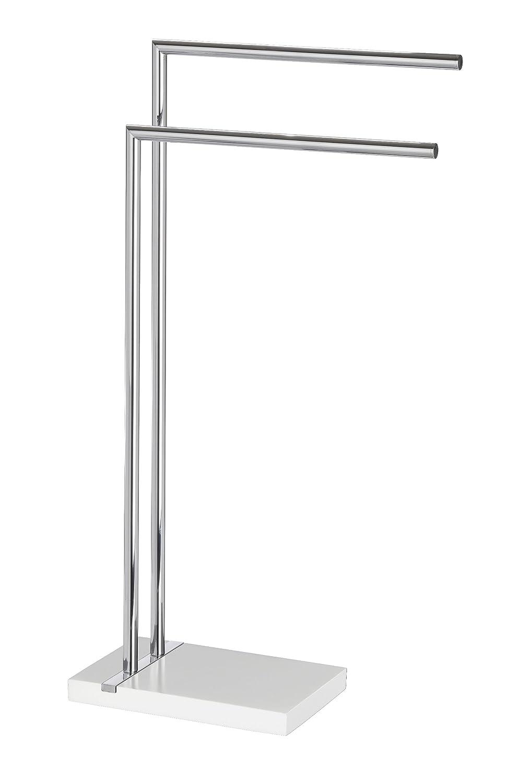 WENKO 20487100 Handtuchständer Handtuchständer Handtuchständer Noble Weiß mit 2 Armen - Kleiderständer, Stahl, 45.5 x 82 x 20 cm, Chrom fb1376