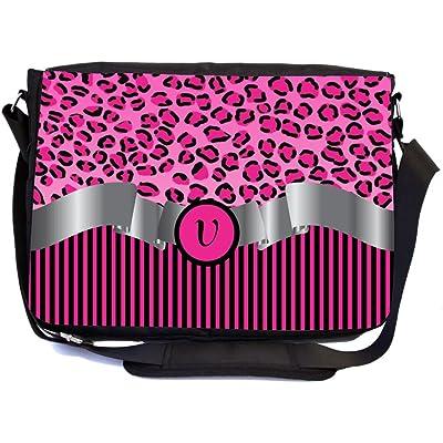"""Rikki Knight Letter """"V"""" Hot Pink Leopard Print Stripes Monogram Design Multifunctional Messenger Bag - School Bag - Laptop Bag - Includes Matching Compact Mirror"""