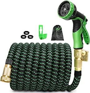 ECOTOPIA 100 Ft Expandable Garden Yard Hose, Expandable Water Hose with 9 Function Water Spray Gun, Garden Hoses, Out Door and Indoor Hose, Flexible Expanding Hose with Storage Bag for Easy Carry