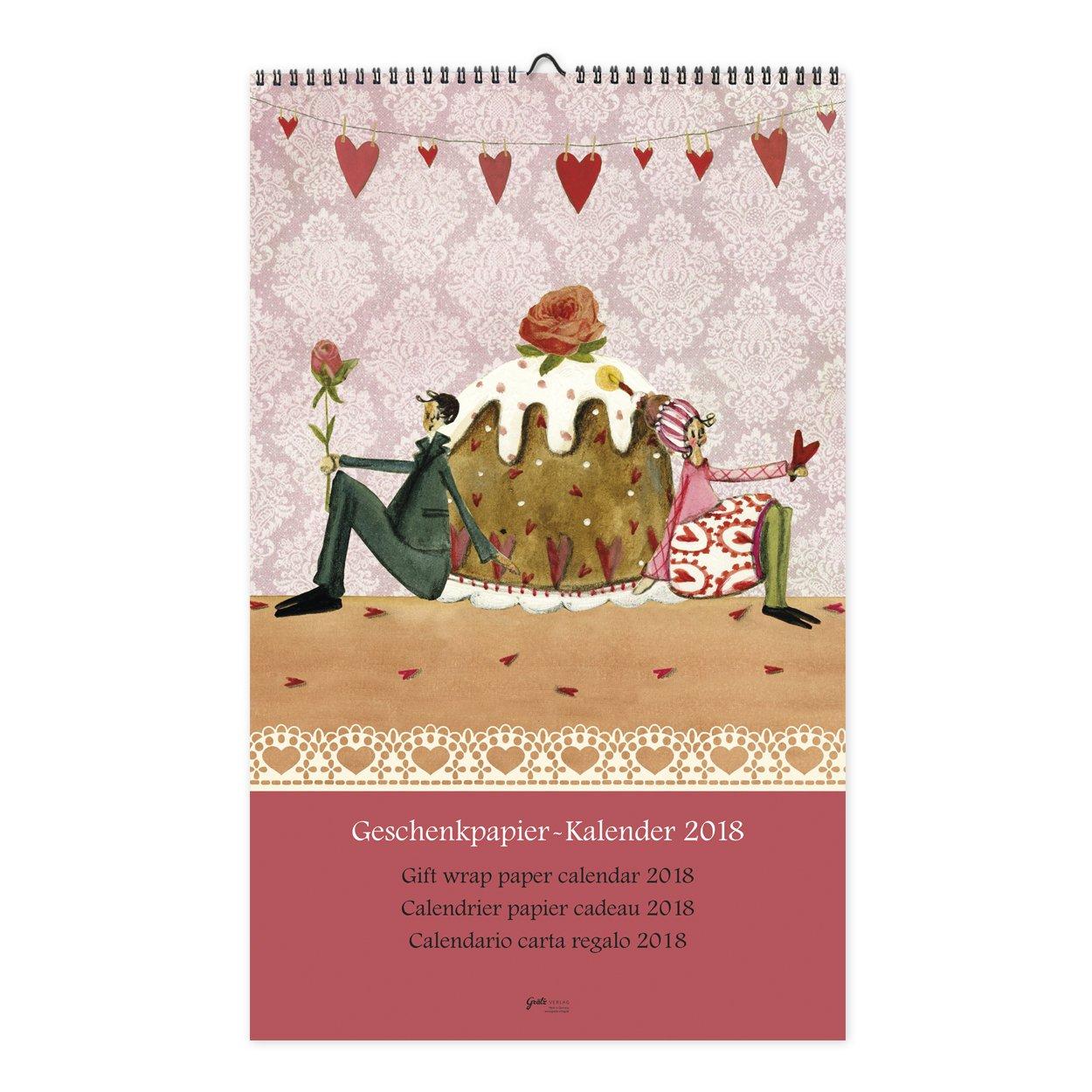 Origineller Geschenkpapier-Kalender 2018 aus dem Grätz Verlag, mit Illustrationen von Silke Leffler