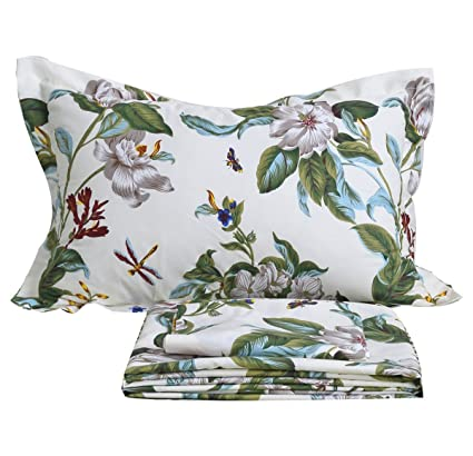 FADFAY Vintage Green Leaves And White Jasmine Summer Hawaiian Style Cotton Bed  Sheet Set Floral Printed