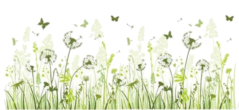 Verführerisch Wandtattoo Gras Dekoration Von Pusteblume Grüne Wiese Schmetterling Löwenzahn Wohnzimmer Wandaufkleber