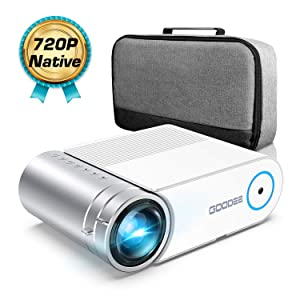 Mini Projector, GooDee G500 HD Video Projector 3800 Lux with 50,000 Hrs, 200 inch Home Theater Movie Projector, 1080P Supported Compatible with Fire TV Stick, PS4, HDMI, VGA, USB