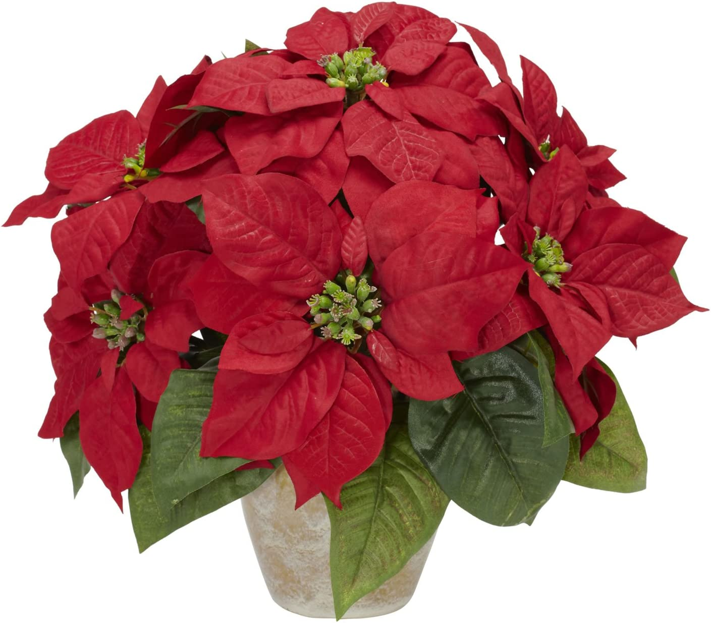 Amazon Com Nearly Natural 1268 Poinsettia With Ceramic Vase Silk Flower Arrangement Red 6 75 X 6 75 X 22 5 Home Kitchen