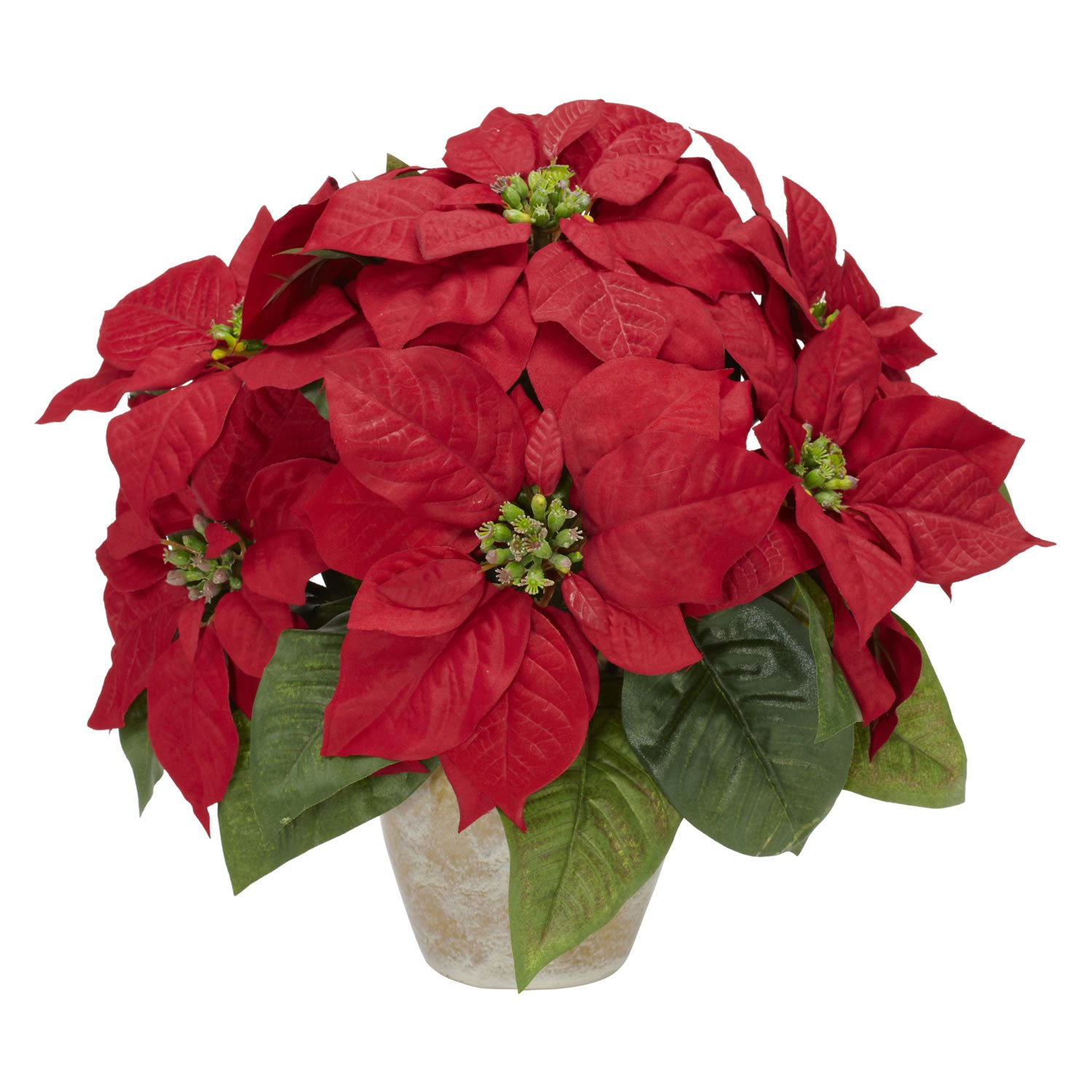 Nearly-Natural-1268-Poinsettia-with-Ceramic-Vase-Silk-Flower-Arrangement-Red