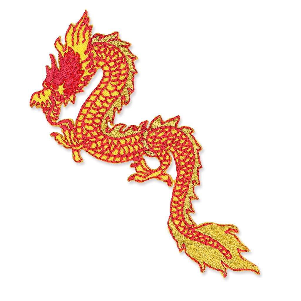 Ecusson Thermocollant 80x43 mm Dragon Chinois Jaune x1 Mediac