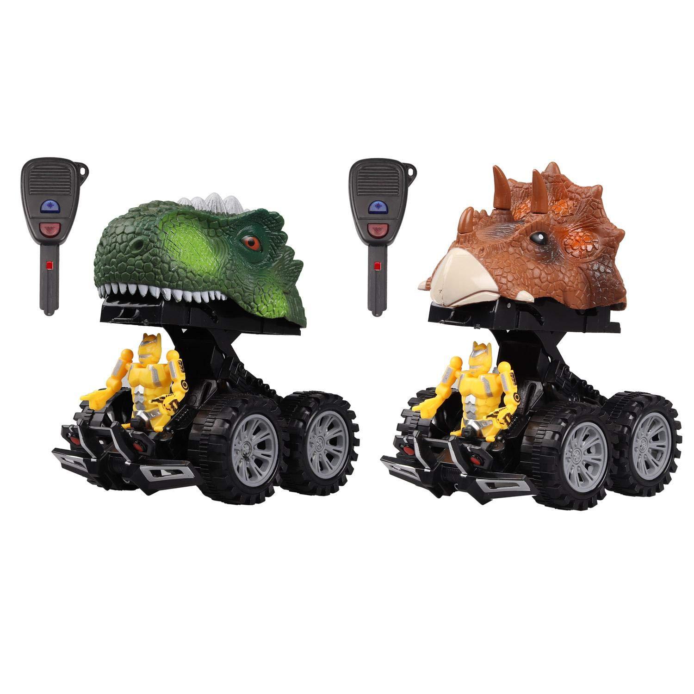 leegoal [2018 Dinosaurier-Spielzeugautos mit Dinosaurier-Umwandlungs-Krieger für Jungen und Mädchen, als kreatives (2 Stück) B