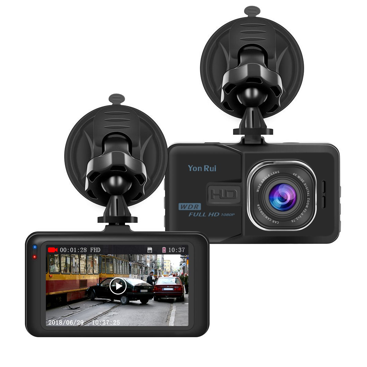 Dash Cam HD 1080P 3' Car Camera On-Dash Video Recorder Dashboard Camera with 170° Wide Angle Night Vision G-Sensor Motion Detection Parking Monitor Loop Recording YonRui