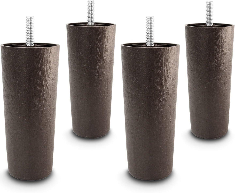 "5"" Universal Dark Brown Plastic Furniture Legs Sofa/Couch/Chair 5/16"" - Set of 4"