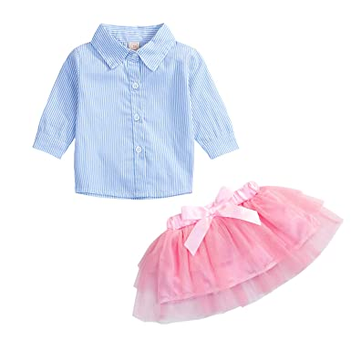 d821b44a1 Toddler Little Girls Outfit 1-5 T Long Sleeve Ruffles Shirt Buttons A-line