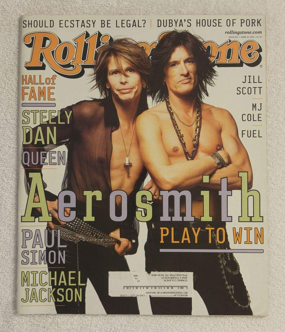 Steven Tyler & Joe Perry - Aerosmith - Rolling Stone Magazine - #867 - April 26, 2001 - Should Ecstasy Be Legal?, Jill Scott, MJ Cole articles