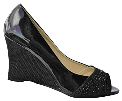 ddd3850900a Boulevard. peep-toe closed back wedge court shoe in black patent. (6 ...