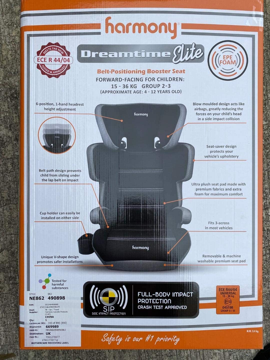 Harmony Dreamtime Deluxe Comfort Booster Silver Tech