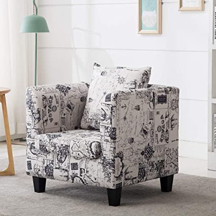 . Irene House Club Chair Tub Linen Fabric Armchair Seat Accent Living Room   Sailing Pattern