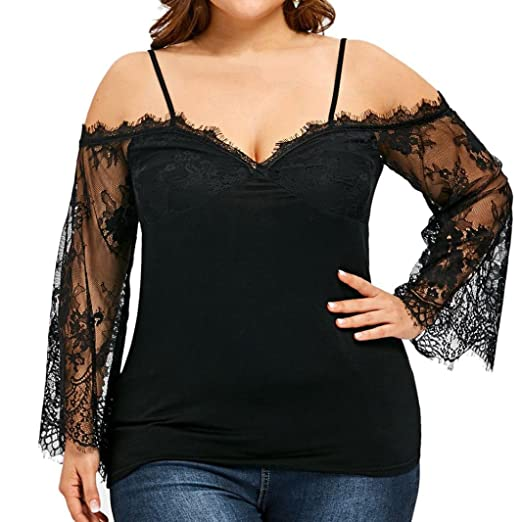 e1822f66dff Minisoya Plus Size Women V Neck Off Shoulder T-Shirt Floral Lace Tunic  Shirt Long Sleeve Casual Tops Cami Blouse at Amazon Women s Clothing store