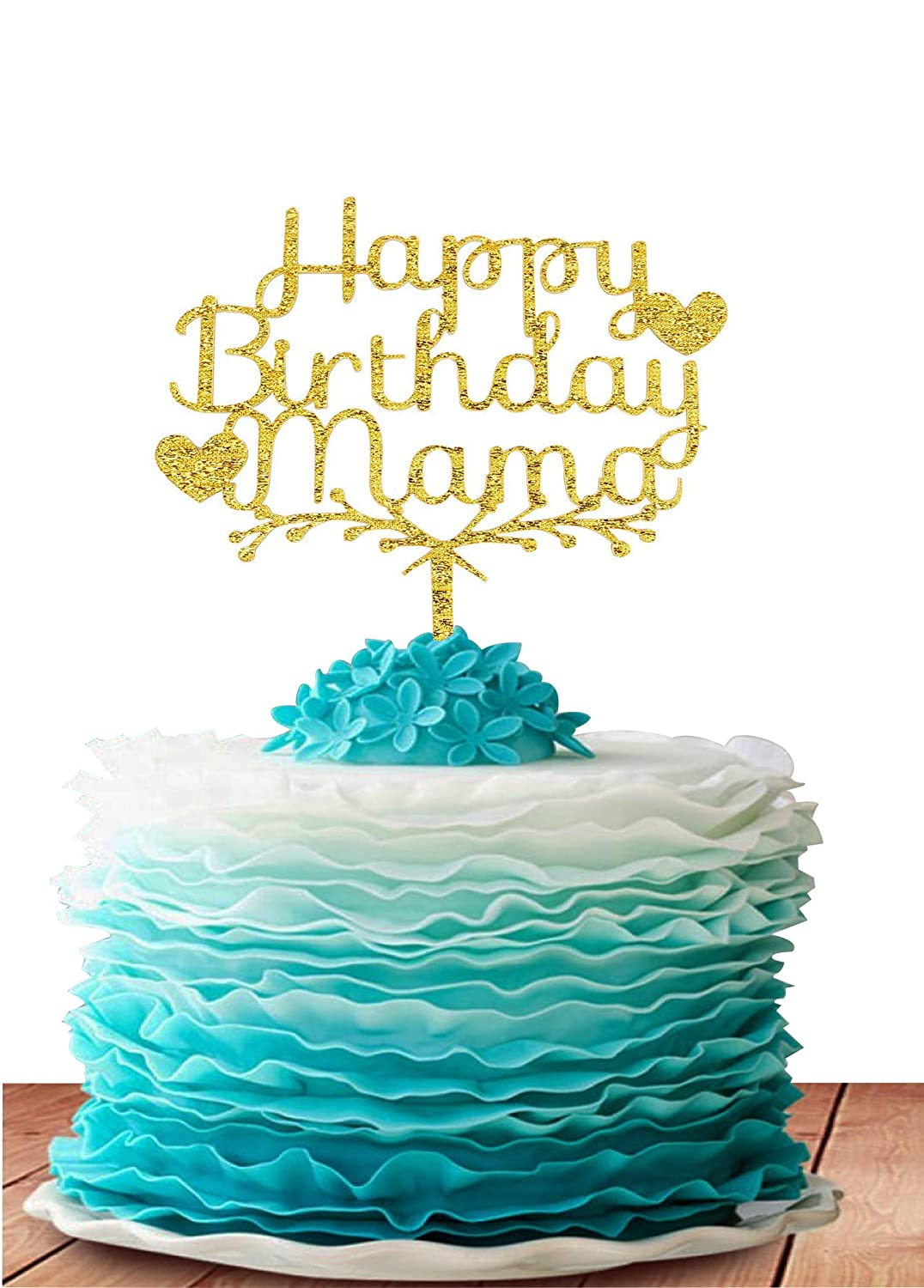 GrantParty Happy Birthday Mama Acrylic Heart Cake Topper -Happy Birthday for Mother Cake Supplies Decorations (Gold)
