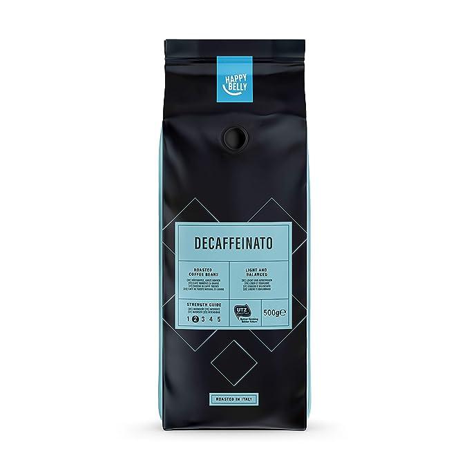 "Marca Amazon - Happy Belly Café descafeinado de tueste natural en grano ""Decaffeinato"""