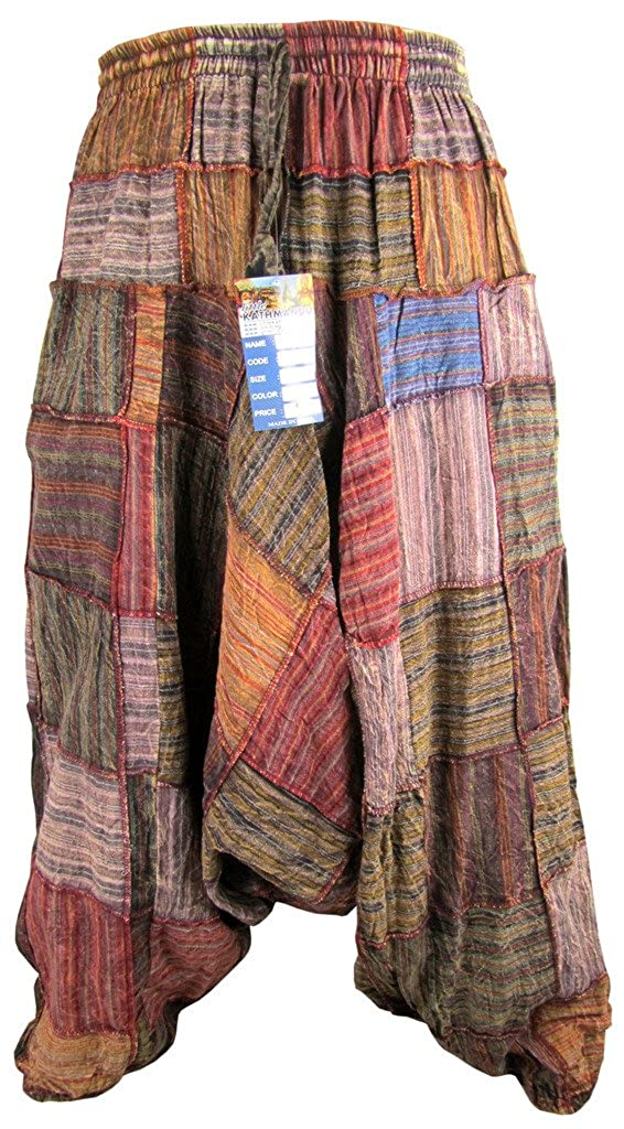 LITTLE KATHMANDU Men's Cotton Patch Aladdin Wide Leg Genie Ninja Harem Pants Trousers