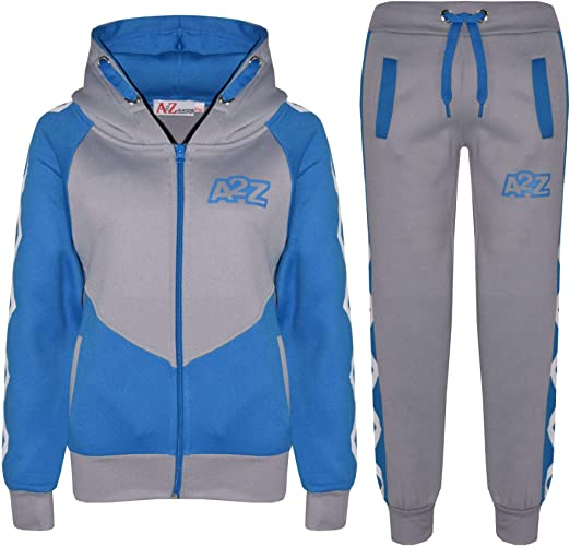 Kids Boys Girls Contrast Panel Tracksuit Grey Hooded Top /& Bottom Jogging Suits