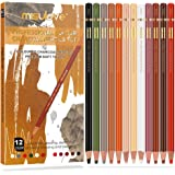 Professional Charcoal Pencils Drawing Set, 12 Pencils Colour Charcoal Pencils, Dark Skin Tone Colored Pencils for Sketching,