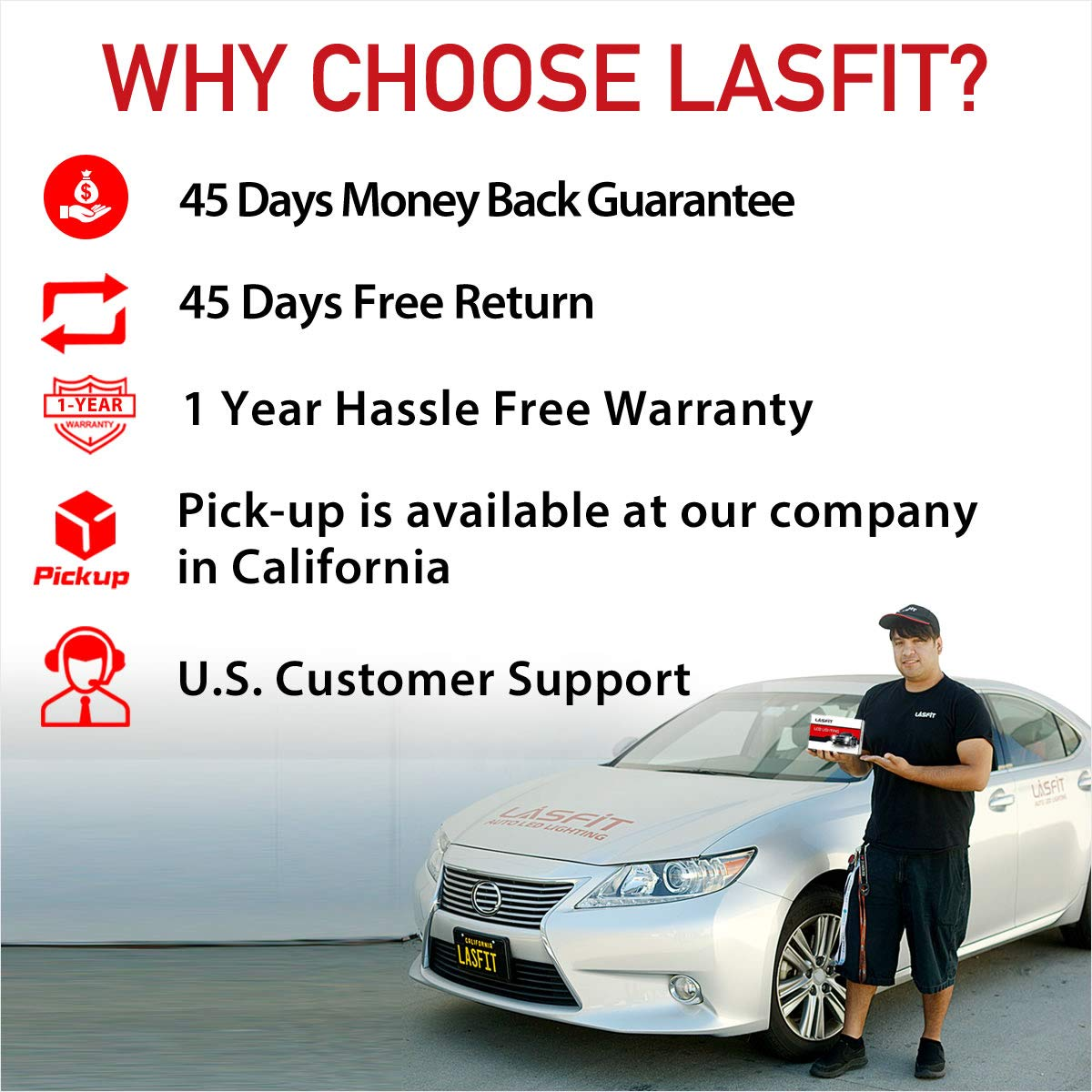 LASFIT 5202/5201/2504 LED Fog Light 60W 7600LM 6000K Cool White LED Bulbs-Plug&Play (2 pack) by LASFIT (Image #8)