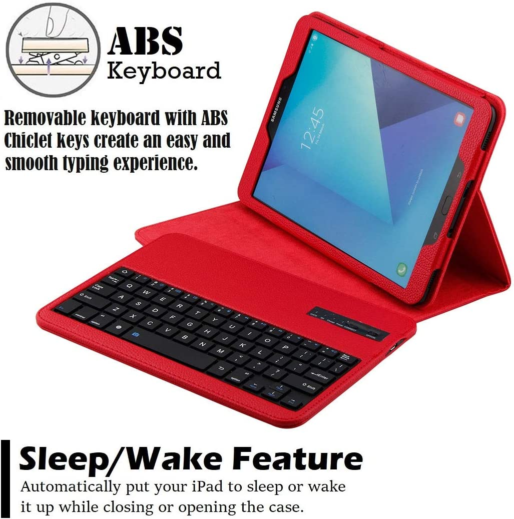 REAL-EAGLE PU Leather Case with Detachable Wireless Bluetooth Keyboard for Samsung Galaxy Tab S4 10.5 inch 2018 SM-T830//T835//T837 Tablet Galaxy Tab S4 10.5, Black Galaxy Tab S4 10.5 Keyboard Case