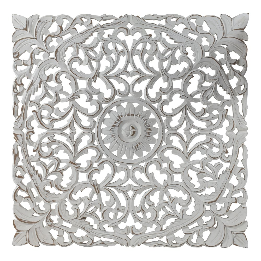 Indian Heritage - Wooden Wall Panel 24x24 MDF Mirror in White Distress finish