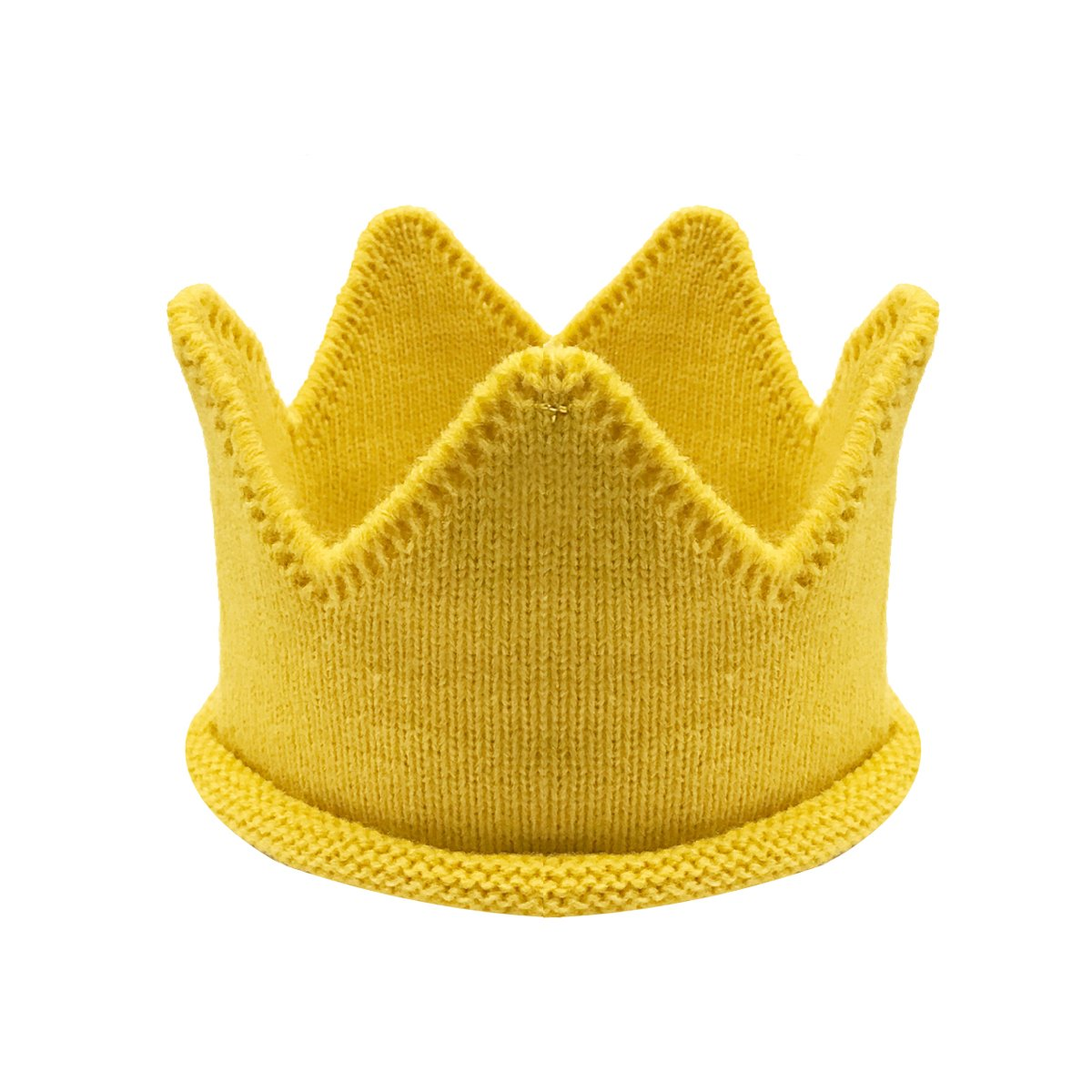 Wrapables Baby Boy & Girl Birthday Party Knitted Crown Headband Beanie Cap Hat, Yellow by Wrapables
